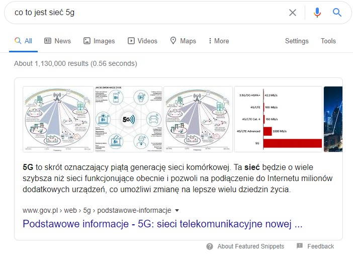 featured snippet czyli dodatek SERP w Google