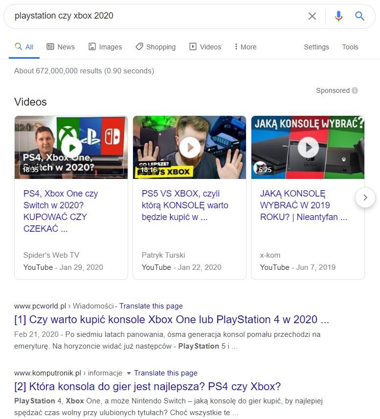 śledzwo informacyjne w google