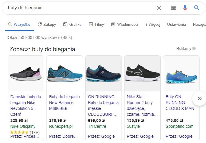 buty do biegania zapytanie google