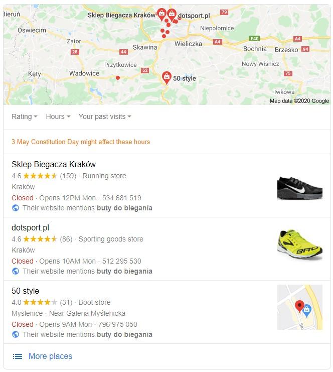 zapytanie google mapa lokalna
