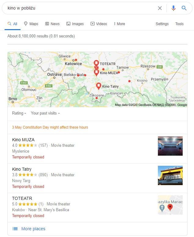 zapytanie lokalne w Google