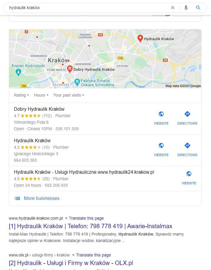 pozycjonowanie lokalne w Google