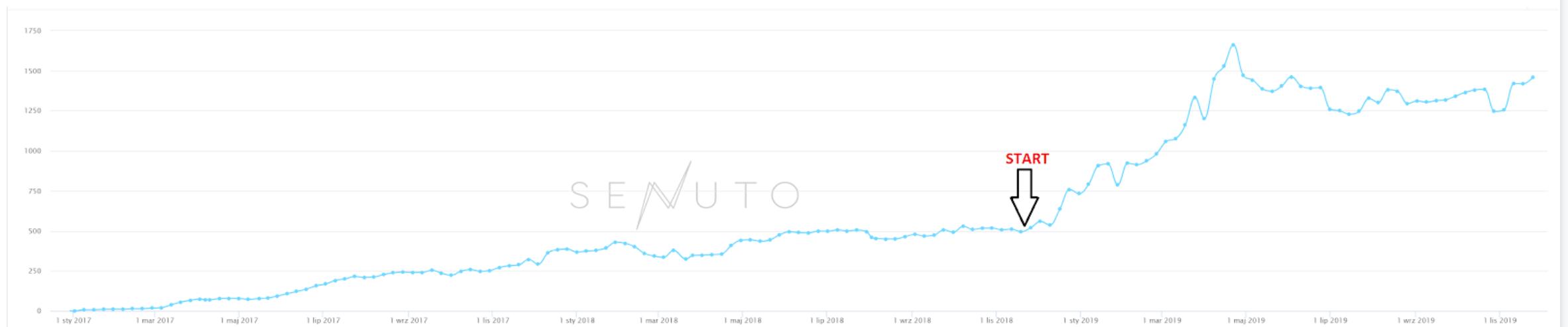 Wzrost widoczności w TOP50 Google sklepu internetowego z sukniami